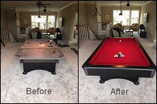 Pool table refelting in high-quality-cloth Manchester